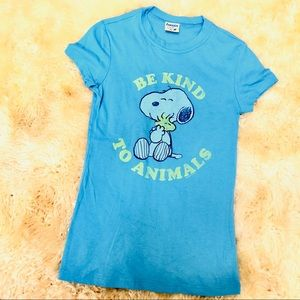 SNOOPY blue *be kind to animals* t-shirt tee top